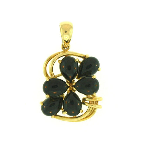 14k Yellow Gold Black Jade Pendant