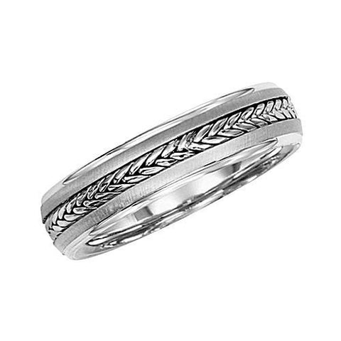 14kt Gold 5.5MM Wedding Band with Braided Center