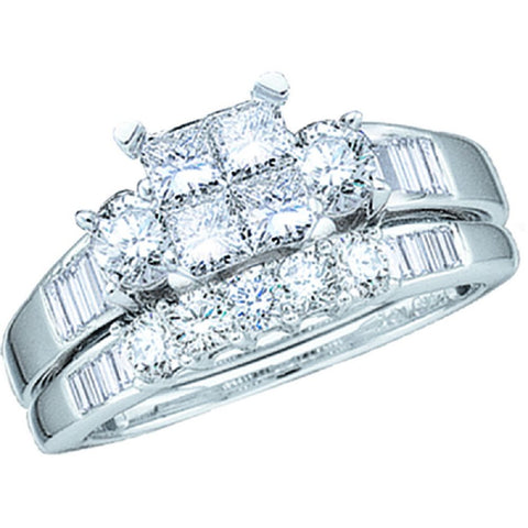 10kt White Gold 1.00ct TW Invisible Set Diamond Bridal Ring Set