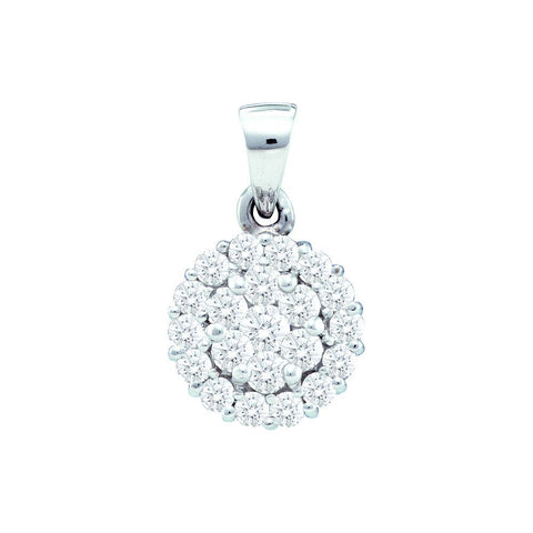 14kt White Gold 1.00ct White Diamond Flower Pendant
