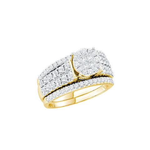 14kt Yellow Gold Round, Princess Cut Bridal Ring Set 1.50ct