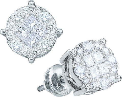 14kt White Gold 1.50 Ctw Round and Princess Diamond Earrings
