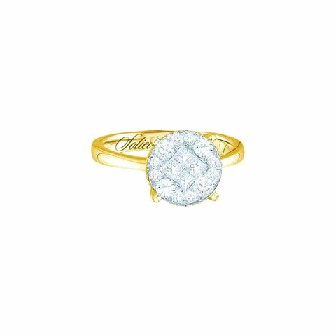 14kt Yellow Gold 0.25Ctw Round and Princess Diamond Bridal Ring