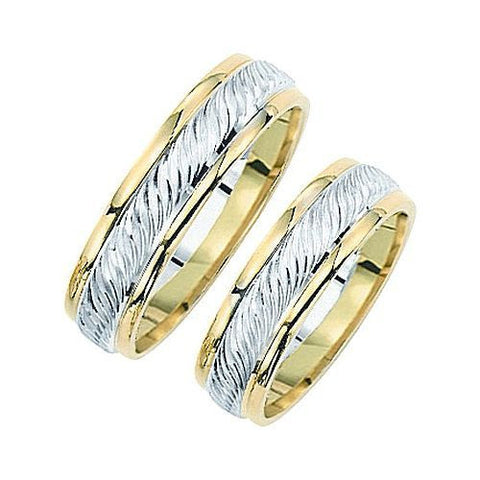 14kt Two Tone 6mm Comfort Fit Braided Wedding Band