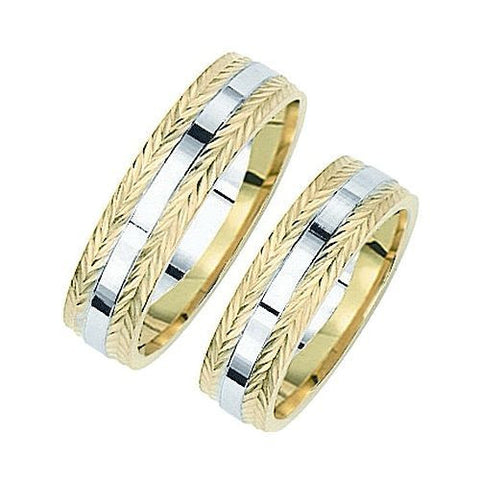14kt Two Tone 6mm Comfort Fit Weaved Wedding Band