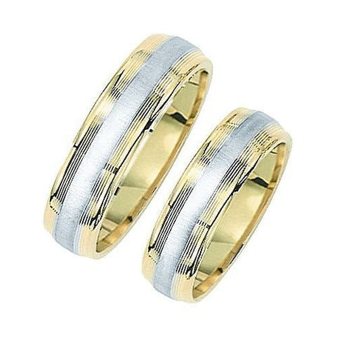 14kt Two Tone 6mm Comfort Fit Grooved Wedding Band