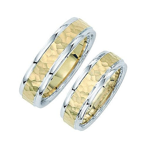 14kt Two Tone 6mm Comfort Fit Hammered Wedding Band