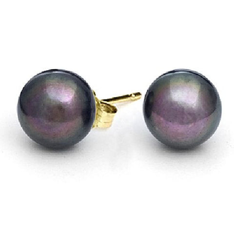 10-10.5mm Black Freshwater Pearl Earrings AA