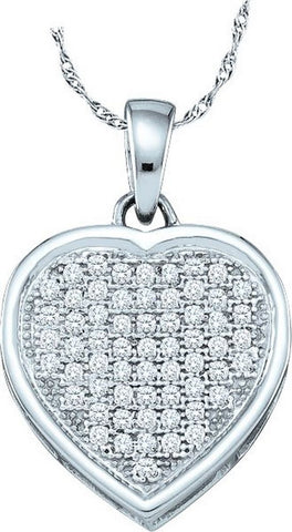10kt White Gold Heart Diamond Pendant 0.20ct