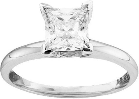 0.90CTW  14kt White Gold Princess Diamond Solitaire Ring exc