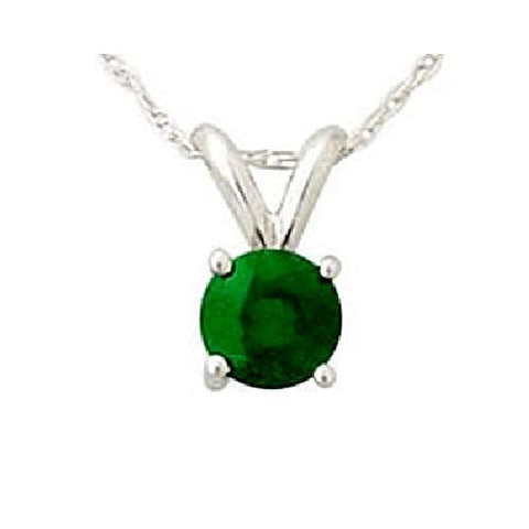14kt White Gold 5MM Round Emerald Pendant AA