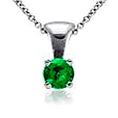 14kt White Gold 5MM Round Emerald Pendant A