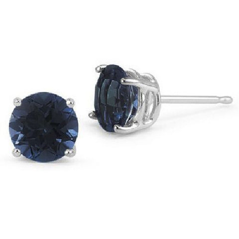 14kt White Gold 5MM Round Blue Sapphire Stud Earrings AA