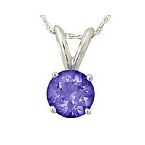 14kt White Gold 5MM Round Tanzanite Pendant AA