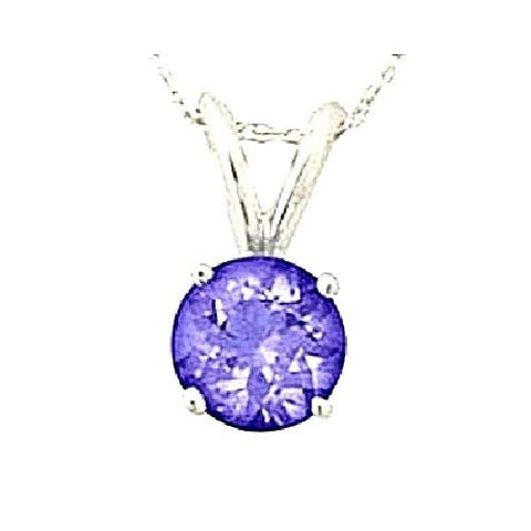 14kt White Gold 5MM Round Tanzanite Pendant A
