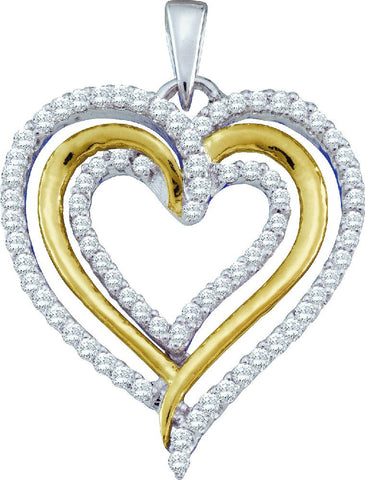 10kt Two Tone Gold Heart Diamond Pendant 0.40ct