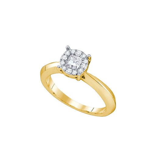 14kt Yellow Gold 0.50Ctw Round and Princess Diamond Bridal Ring