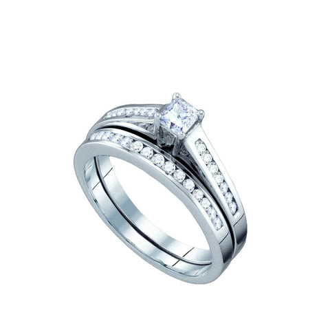 10kt White Gold Round & Princess Diamond Bridal Ring Set 0.50ct