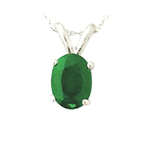 14kt White Gold 6/4mm Oval Emerald Pendant AA