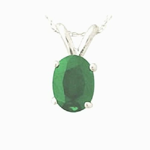 14kt White Gold 6/4mm Oval Emerald Pendant A