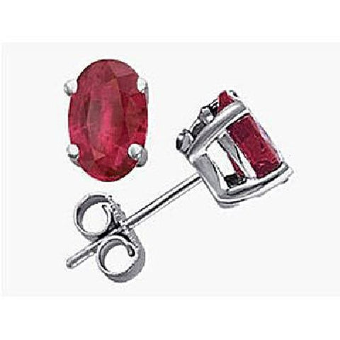 14kt White Gold 6/4mm Oval Ruby Stud Earrings AA
