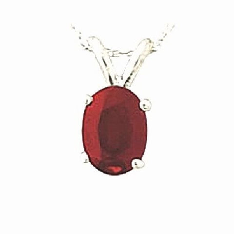 14kt White Gold 6/4mm Oval Ruby Pendant AA