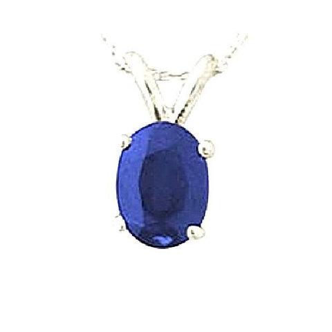 14kt White Gold 6/4mm Oval Blue Sapphire Pendant AA