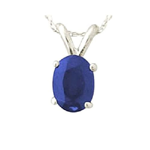 14kt White Gold 6/4mm Oval Blue Sapphire Pendant A