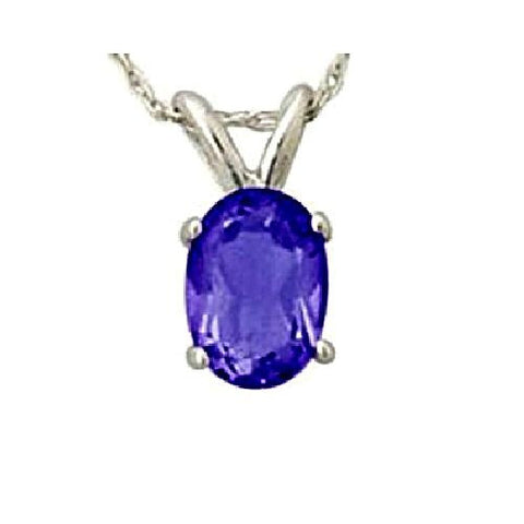 14kt White Gold 6/4mm Oval Tanzanite Pendant AA