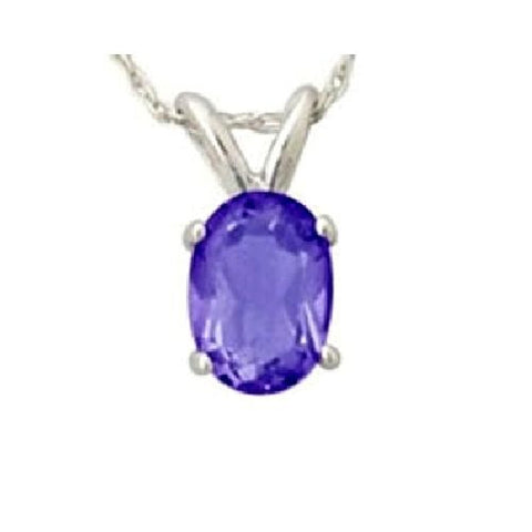 14kt White Gold 6/4mm Oval Tanzanite Pendant A