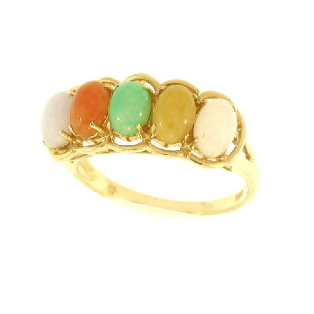 14k Yellow Gold Multi Color Oval Jade in Band Ring
