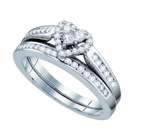 10kt White Gold 0.50ct TW Heart Diamond Bridal Ring Set