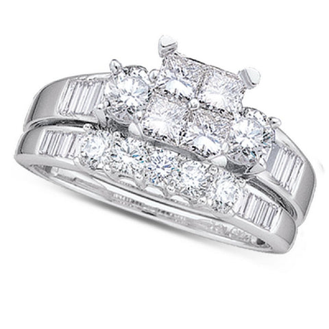 10kt White Gold 0.84ct TW Invisible Set Diamond Bridal Ring Set