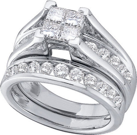 10kt White Gold 0.50ct TW Invisible Set Diamond Bridal Ring Set