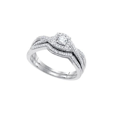 10kt W.G. 0.33ct TW Round Diamond Bridal Ring Set 1/6ct Center