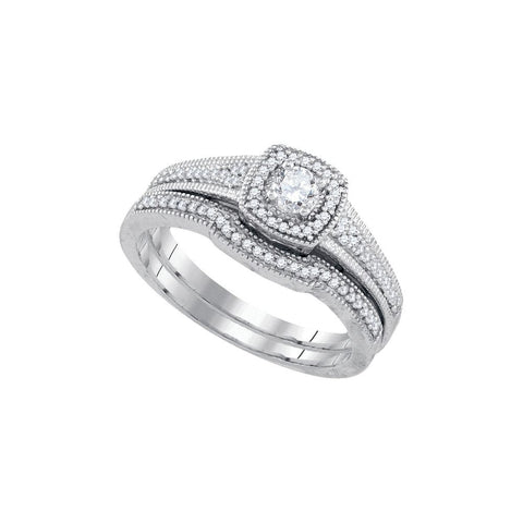 10kt W.G. 0.33ct TW Round Diamond Bridal Ring Set 1/8ct Center