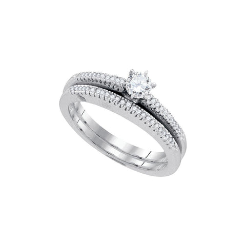 10kt W.G 0.33ct TW Round Diamond Bridal Ring Set 0.20ct Center
