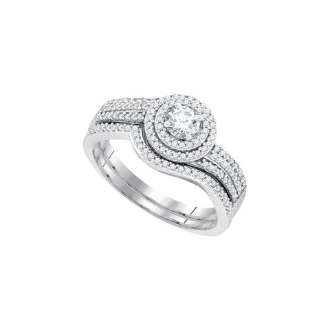 10kt W.G 0.60ct TW Round Diamond Bridal Ring Set 0.25ct Center