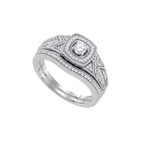 10kt W.G 0.40ct TW Round Diamond Bridal Ring Set 0.15ct Center