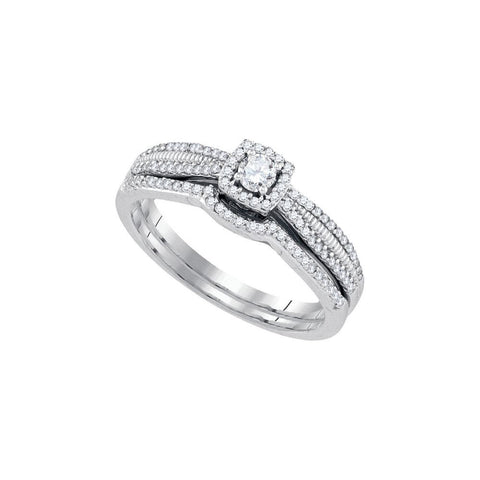 10kt White Gold 0.33ct TW Round Diamond Bridal Ring Set