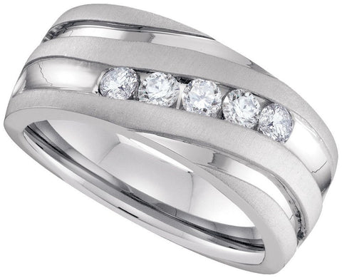 10kt White Gold Mens Fashion Diamond Ring 1.00ct