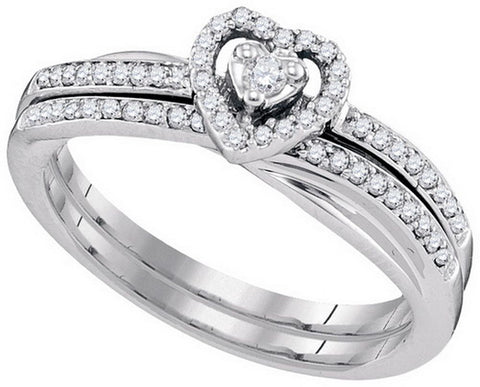 10kt White Gold 0.25ct TW Round Diamond Bridal Ring Set
