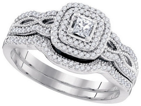 10kt W.G. 0.35ct TW Round Diamond Bridal Ring Set 1/10ct Center