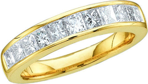 14kt Yellow  Gold Invisible Set Diamond Wedding Band 1.00ct