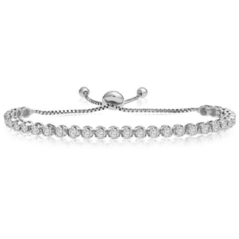 14kt White Gold Adjustable Diamond Bracelet 1.00ct TW