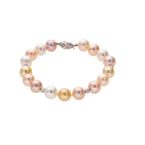 8-8.5mm Multi Color Pearl Bracelet with 18kt W.G. Beads