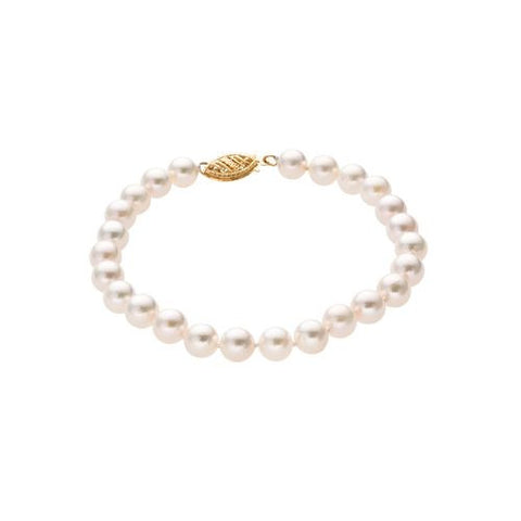 6.5-7mm Pearl Bracelet with 14kt Yellow Gold Clasp