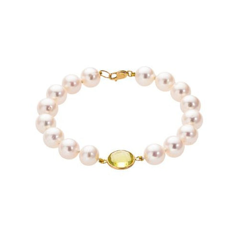 14kt Yellow Gold Citrine and 10mm Freshwater Pearl Bracelet