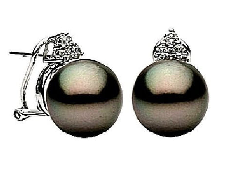 14kt Gold Tahitian Black Pearl and Diamond Earrings 11-12mm
