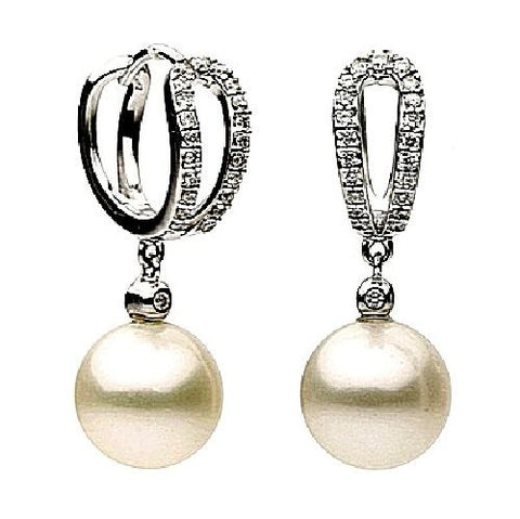 14kt White Gold Freshwater Pearl and Diamond Earrings 9-10mm